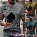 European and American fashion 2021 men's T-shirt new playing card print men's black T-shirt top M-XXXL