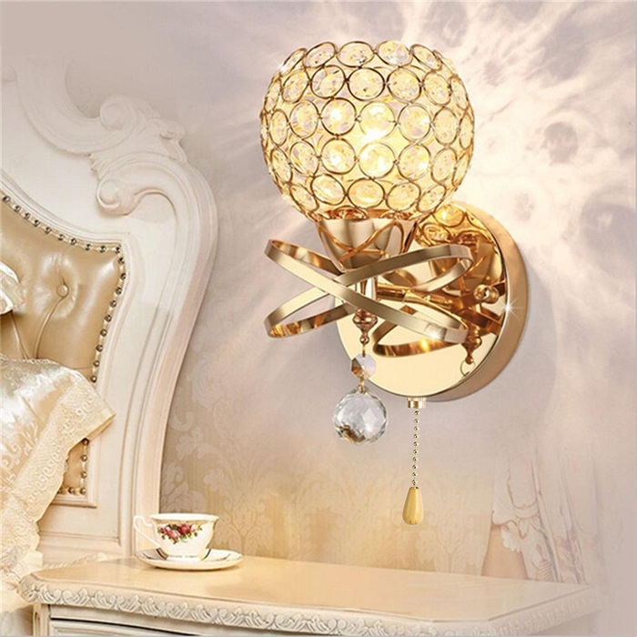 Image 2 - Crystal Wall Lamp Simple and Creative Bedroom Bedside Wall Lamp Home Lighting Living Room Crystal LampWall Lamps   -