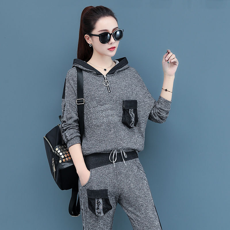 Fall Two Piece Set Korean Plus Size Women Set Tracksuit Outfits Hoodies Top And Pant Suit Gray Sportwear Co-ord Sets Clothing