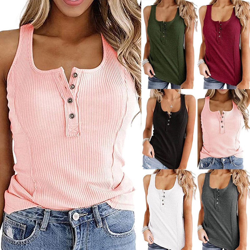 Women's Summer Solid Stretch Tank Ladies Buttons Sexy V-Neck Tops Fashion Vest Camisole Casual Sleeveless Female Tops