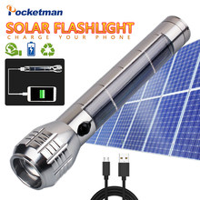 5000lm solar flashlight multifunction LED flashlight mobile power zoom light energy saving solar work outdoor(China)