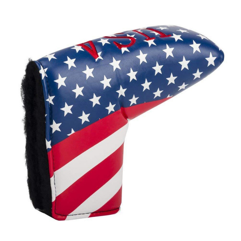 Waterproof American Flag/Spider-Web Pattern Outdoor Golf Putter Cover Protective Durable Portable Headcover Golf Club Protector
