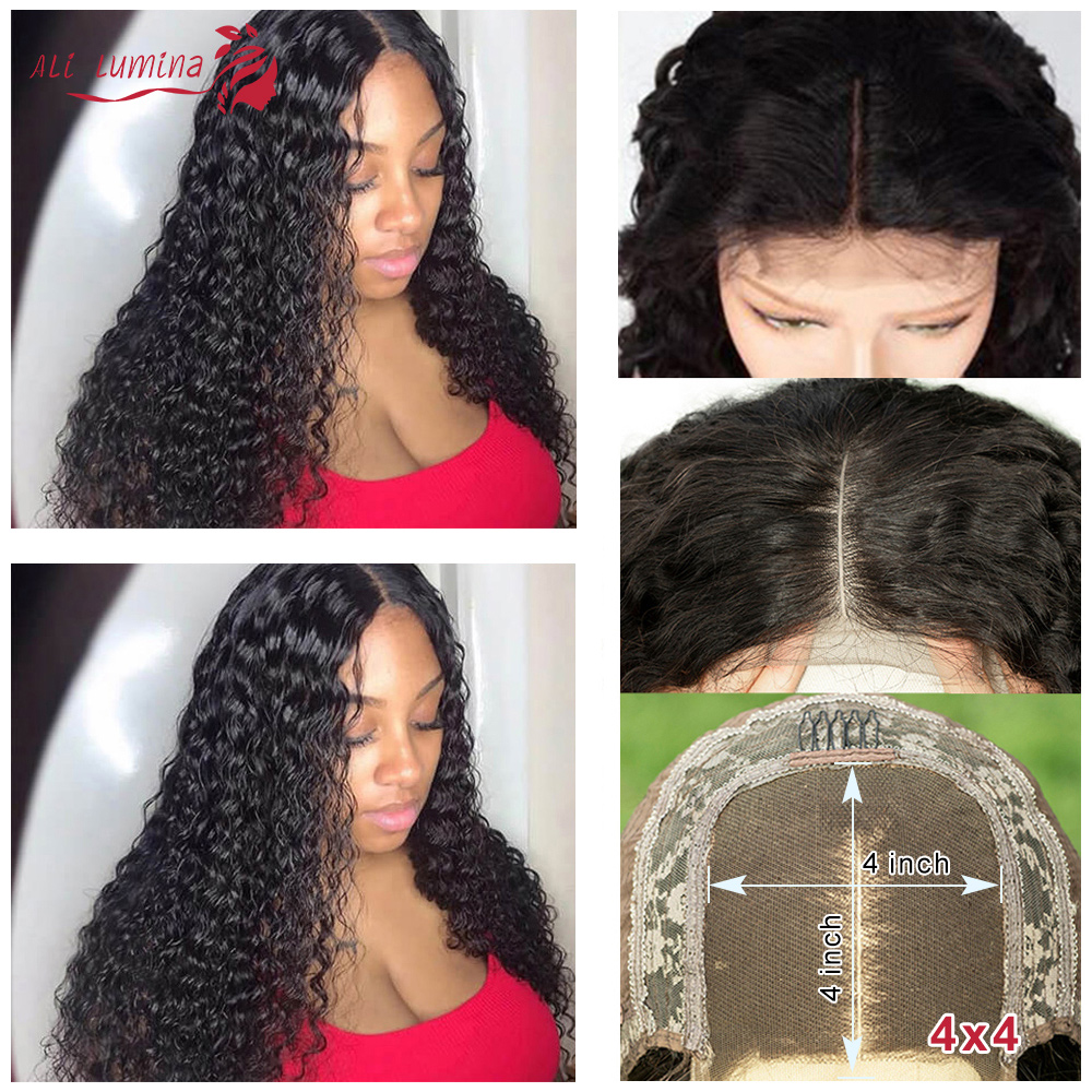 30Inch Lace Closure Wig Deep Wave Human Hair Wigs For Black Women Pre-Plucked 4x4 Transparent Lace Wigs Remy Long Hair Wig 150%
