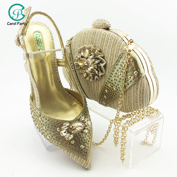 2020 New Design Gold Color High Quality Italian Women Shoes and Bag Set Nigerian Lady Shoes Matching Bag for Wedding Party
