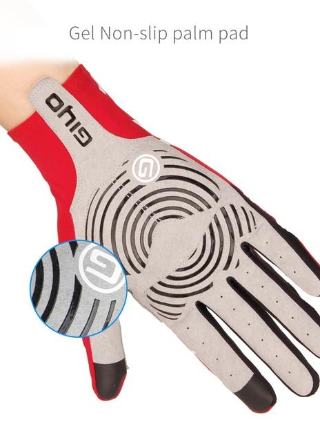Giyo luvas de ciclismo longo dedos completos esportes tela toque gel esportes das mulheres dos homens verão longo dedo luvas mtb equitação estrada corrida 4