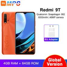 Xiaomi Redmi 9T-teléfono inteligente versión Global, 4GB, 64GB, Snapdragon 662, cámara trasera de 48MP, 6000mAh, sin NFC