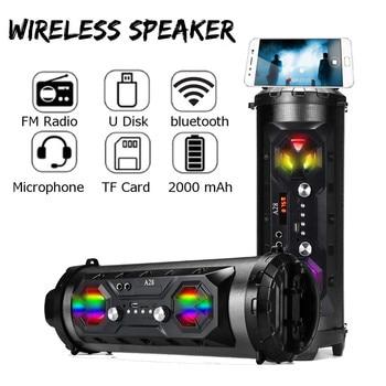 20W HiFi Portable bluetooth Speaker Outdoor Handsfree TF FM AUX-in Super Bass Speaker Soundbar With Phone Holder With Mic