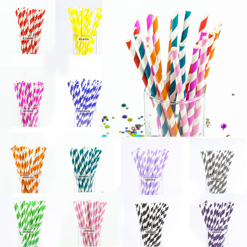 25pcs/lot Colorful Paper Drinking Straws stripe DIY For Baby Shower Wedding Party Kids Birthday Festival Party Decor Supplies 7Z