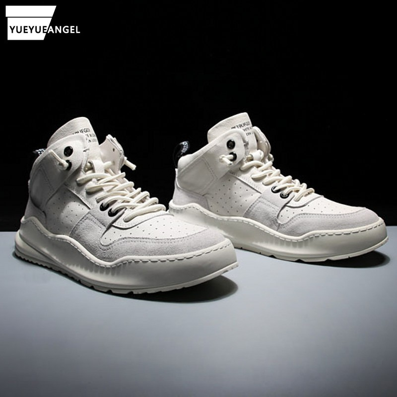 Mens High Top Genuine Leather Shoes Casual Hip Hop Thick Platform Shoes White Joggers Sneakers 2019 Autumn New Skateboard Shoes