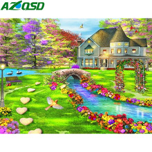 AZQSD Diamond Painting Garden 5d Diy Needlework Embroidery Scenery Handmade Rhinestones Pictures Home Decor
