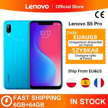 Version mondiale Lenovo S5 Pro 6GB 64GB Snapdragon 636 Octa Core Smartphone 20MP Quad caméras 6.2 pouces Octa Core 4G LTE téléphones
