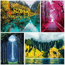 DIY Number Painting Landscape Oil Image Handmade Frescoes Painted By Intent For Adults Modern Decorative Picture On The Wall Art