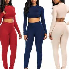Women 2 Pcs Jumpsuit Long Sleeve Crop Top Casual Bandage Bodycon Overalls Solid Rompers Two Pieces