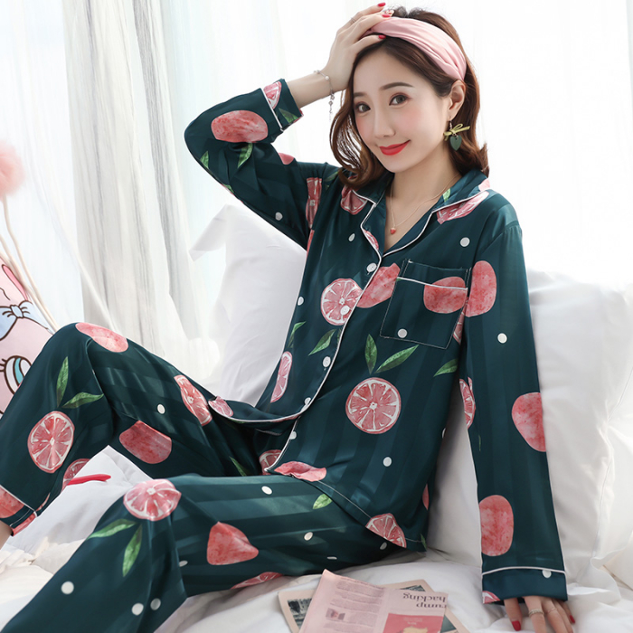 Pajamas For Women 2019 Autumn Winter Cute Print Long Sleeve Silk Sleepwear Set New Lonxu Silk Pajamas Sets Young Girl Nihgttwear