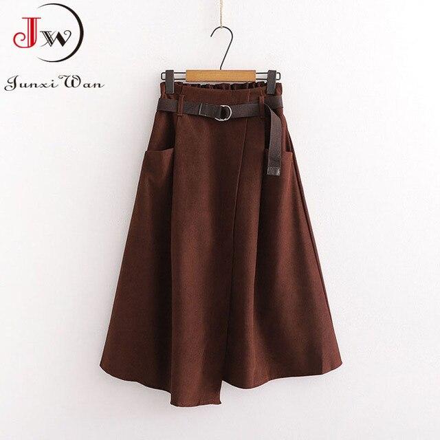 Women Casual Skirts 2021 Spring And Autumn Solid High Waist Irregular Pockets Midi Skirts Fashion Simple Elegant Saia Faldas 2