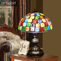 Artpad Mosaic Glass Table Lamp with E27 Bulb, Stained Glass Table Lamps Bedside Living Room Decorative Table Light AC 220V