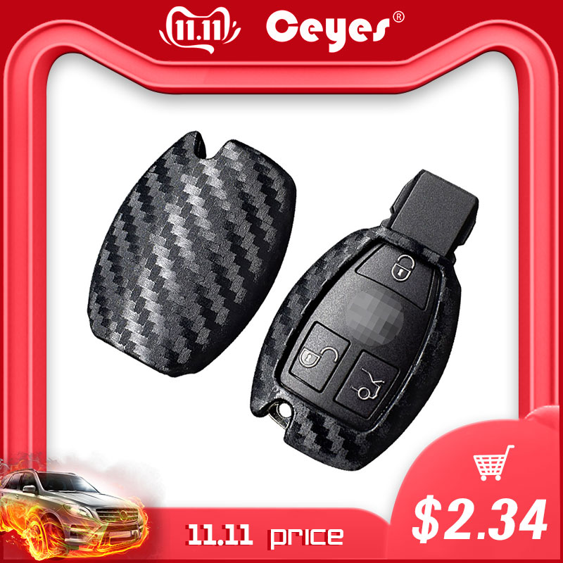 Ceyes Car Styling Auto Carbon Fiber Shell Covers Case For Mercedes Benz Cla CLS R350 C200 C180 E260L S320 GLK300 C S Accessories-in Car Stickers from Automobiles & Motorcycles