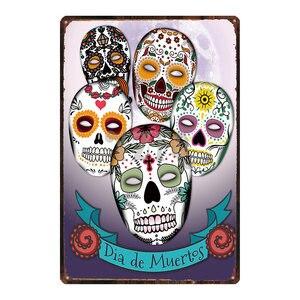 Сахарный череп металлический знак потертый шик мексиканский фестиваль День мертвых для стены плакат Бар тату магазин искусство домашний декор DU-3239A