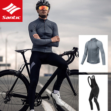 SANTIC Cycling Jersey Men Long Sleeve Bicycle Jersey Mtb Road Bike Jersey Autumn Sun-protective Bicycle Accessories