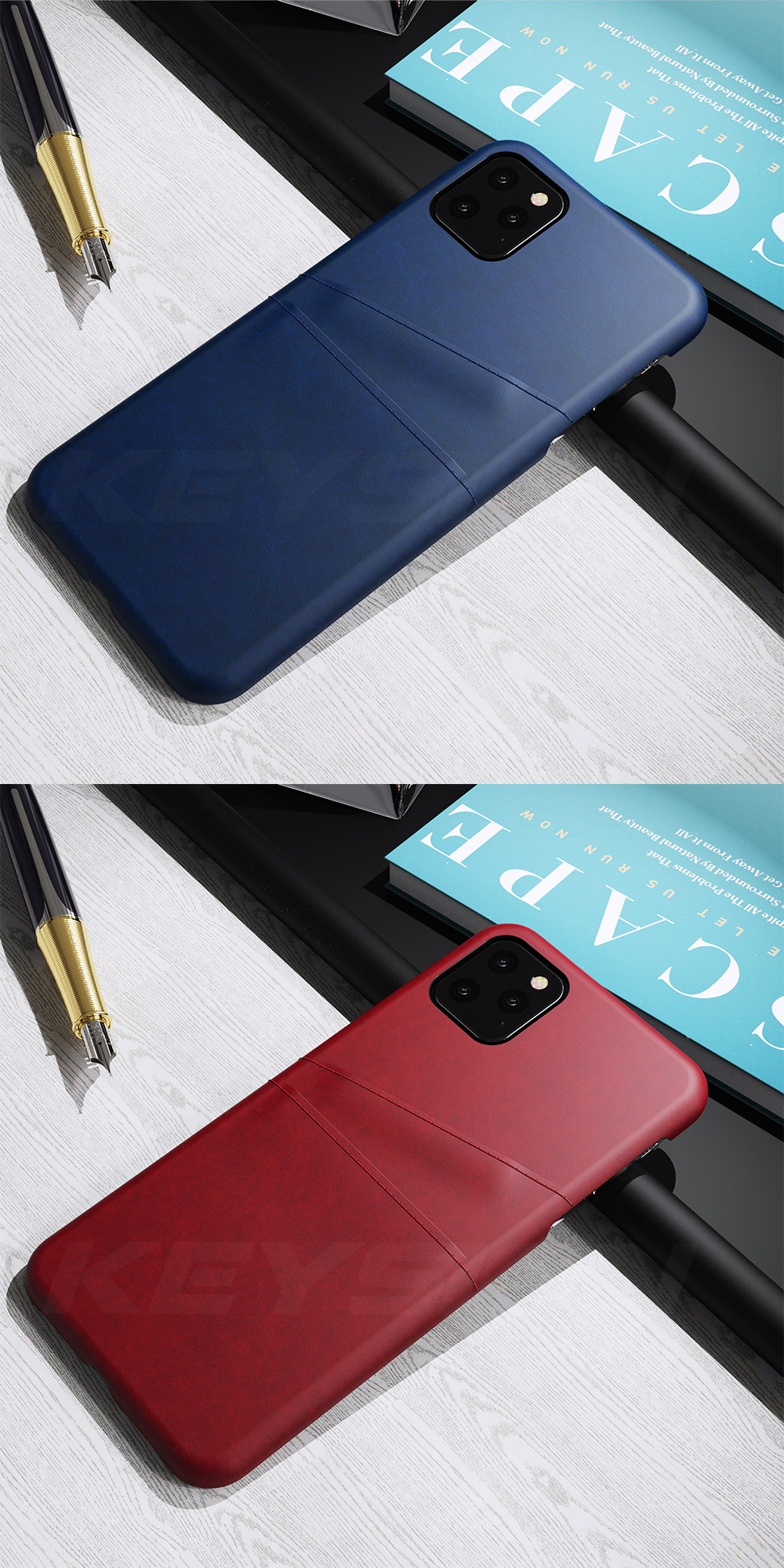 KEYSION Leather Card Pocket Cases for iPhone 11/11 Pro/11 Pro Max 5