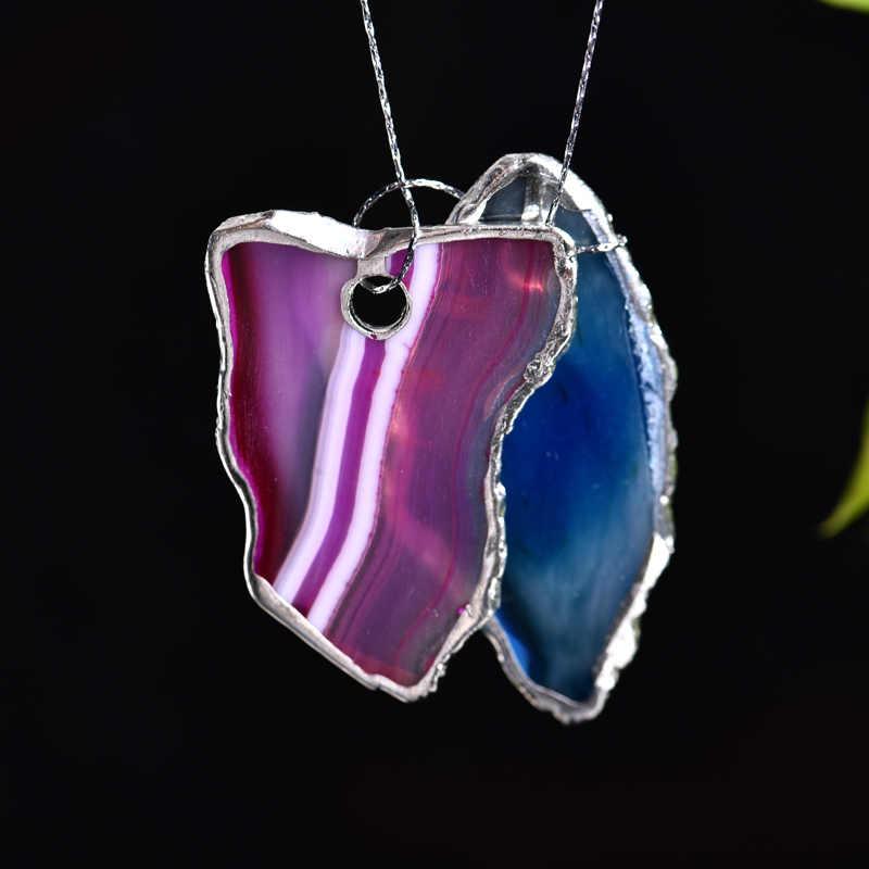 Fluorit Schmuck Energie Stein Anhänger Halskette DIY einzigartiges Geschenk
