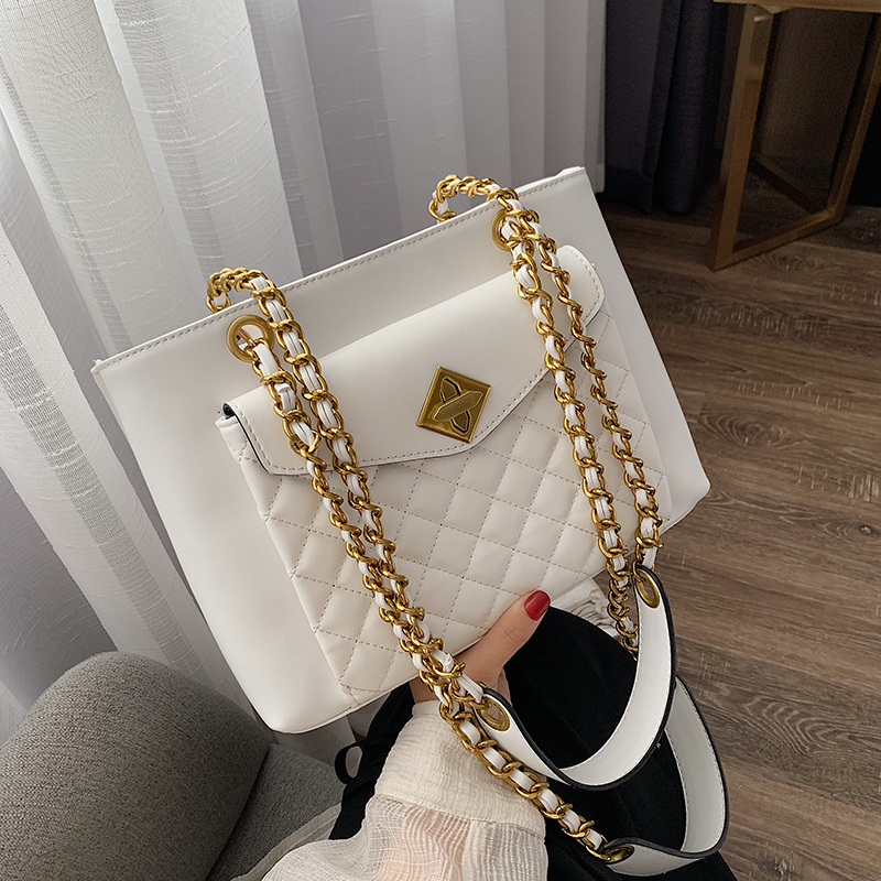 Elegant Female Casual Tote Bag 2019 Fashion New Quality PU Leather Women's Designer Handbag Lingge Chain Shoulder Messenger Bag