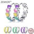 ZEMIOR Genuine S925 Sterling Silver Rainbow Color Enamel Heart Hoop Earrings for Women 2021 New Ear Hoops Female Fine Jewelry
