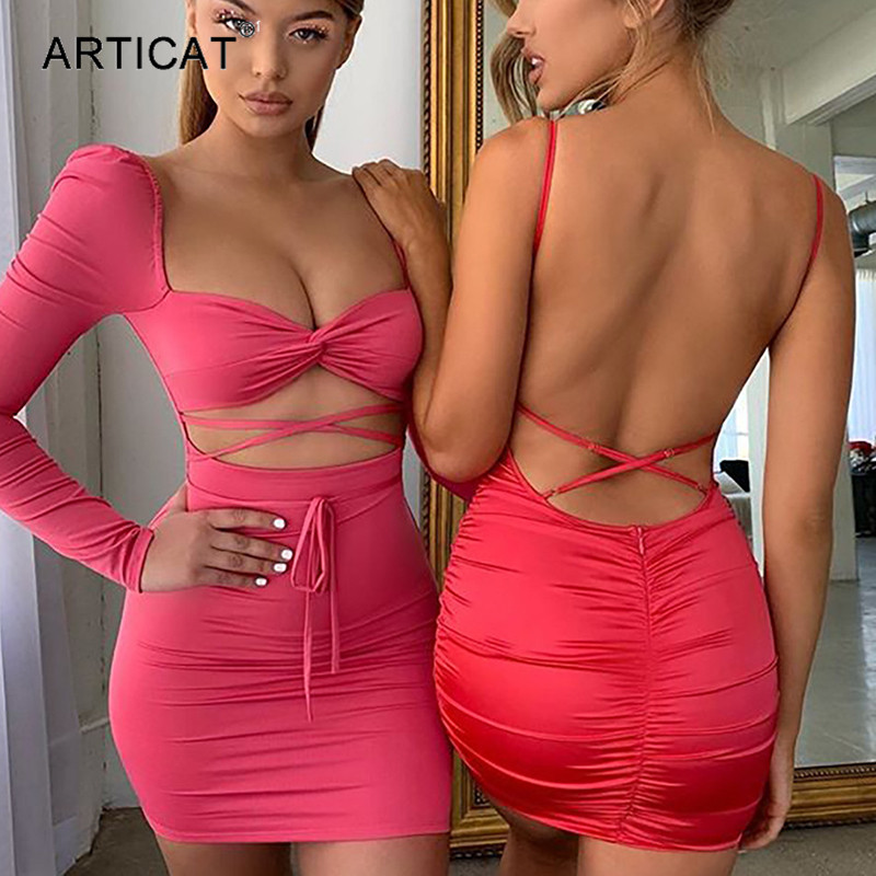 Articat Sexy Hollow Out Lace Up Backless Dress Women Long Sleeve Bodycon Mini Dress Bandage Female Club Wear Party Vestidos 2020