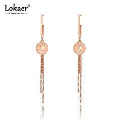 Lokaer Original Design Stainless Steel Rose Gold Queen Coin Tassel Earrings Trendy Chain Dangle Earrings For Women Girls E19270