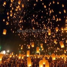 Китайский бумажный Летающие фонарики желаний Fly лампы в форме свечи лампы для рождественской вечеринки Свадебные украшения