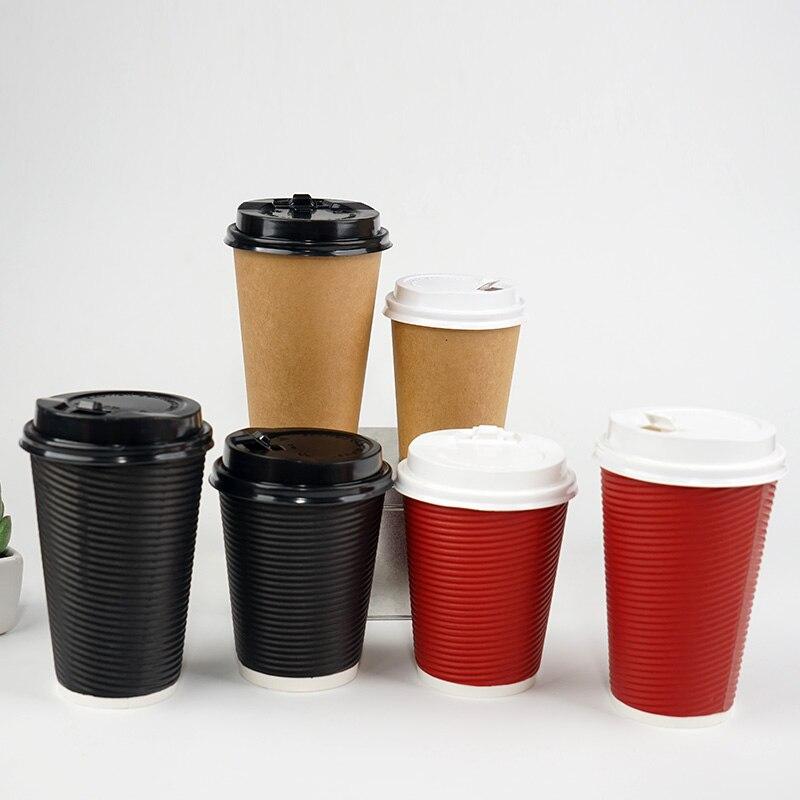25 pièces de haute qualité jetable tasse à café épais noir/rouge/kraft lait thé soja boisson chaude tasses en papier 12 oz/16 oz emballage avec couvercle