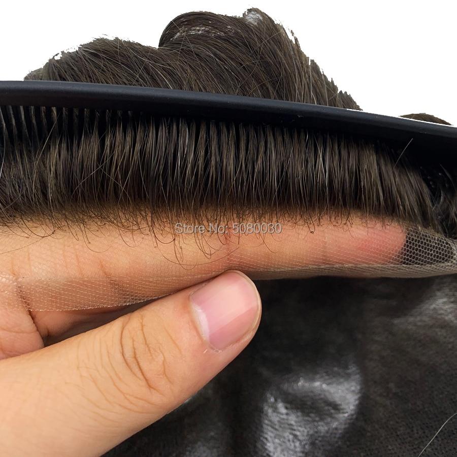100% cheveux humains base taille 8x10 pouces dentelle avant hommes toupet gros indien remy cheveux humains toupet - 6