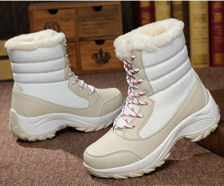 Winter boots women shoes 2019 fashion solid waterproof casual shoes woman hook&loop ankle boots warm plush snow women boots (9)