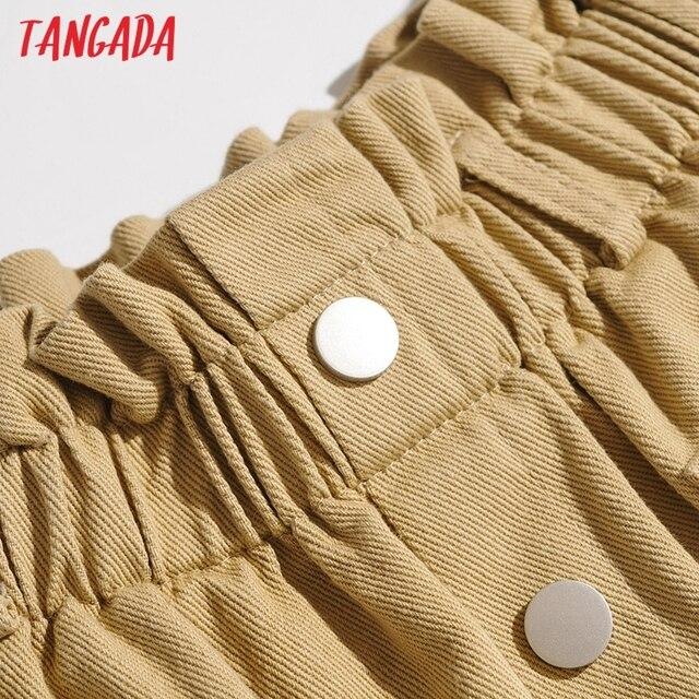 Tangada Women Cotton Shorts High Waist Buttons Pockets Female Retro Basic Casual Shorts Pantalones 1M2 5