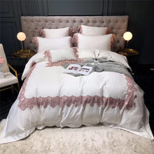 Shabby Chic Wide Lace Duvet Cover High End Egyptian Cotton Princess Bedding Set 4/7Pcs Queen King size Soft Flat Bed sheets(China)