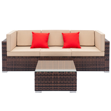 Fully Equipped Weaving Ratt Fully Equipped Weaving Rattan Sofa Set with 2pcs Corner Sofas & 1pcs Single Sofas & 1 pcs Coffee Tab
