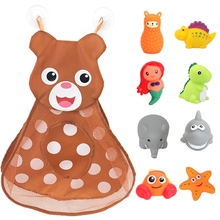 Baby Bath Toys-Set Storage-Bag Water-Floating Flashing Kids 8PCS with for Color-Changing-Light