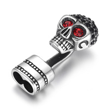 316L Stainless Steel Red Eye Skull Hook End Bead Connector Double Hole 5mm Bracelet Closure for DIY Accessories Jewelry Making pink back hook eye closure velvet bikinis sets