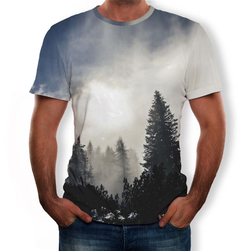 Summer Short Sleeve Landscape 3D Print Men T-Shirts O-Neck Casual Big Size Tops Tees Male Streetwear Loose T-Shirt Pullovers