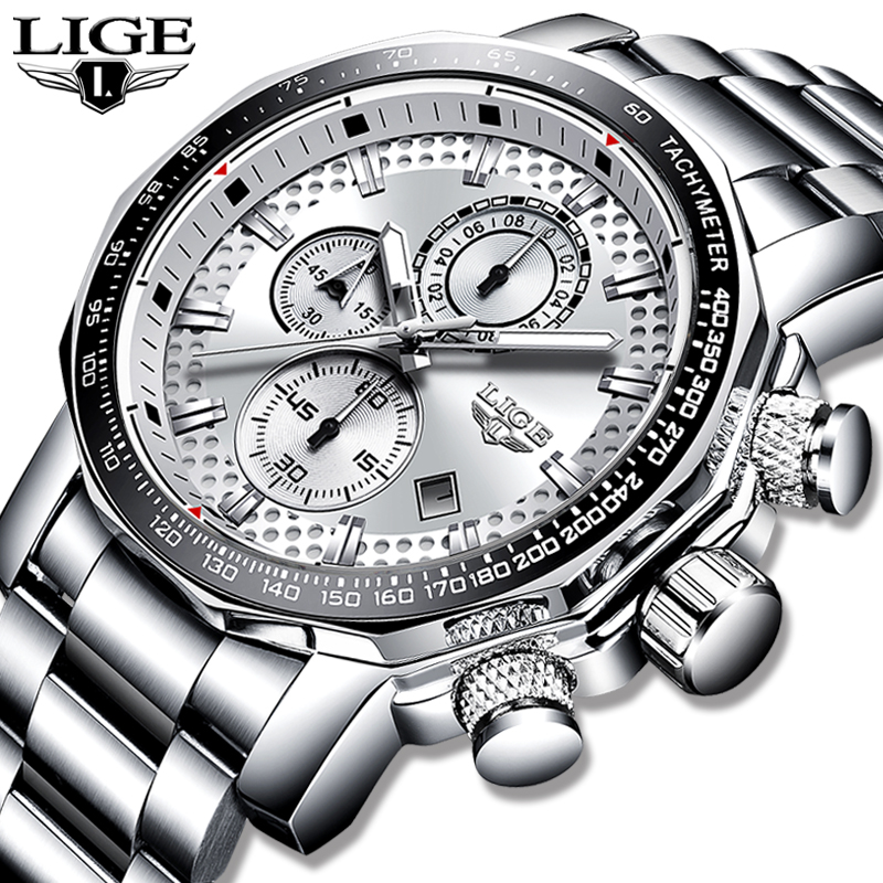 2020 LIGE Fashion Mens Watches Stainless Steel Top Brand Luxury Sport Chronograph Quartz Watch Men Black Watch Relogio Masculino