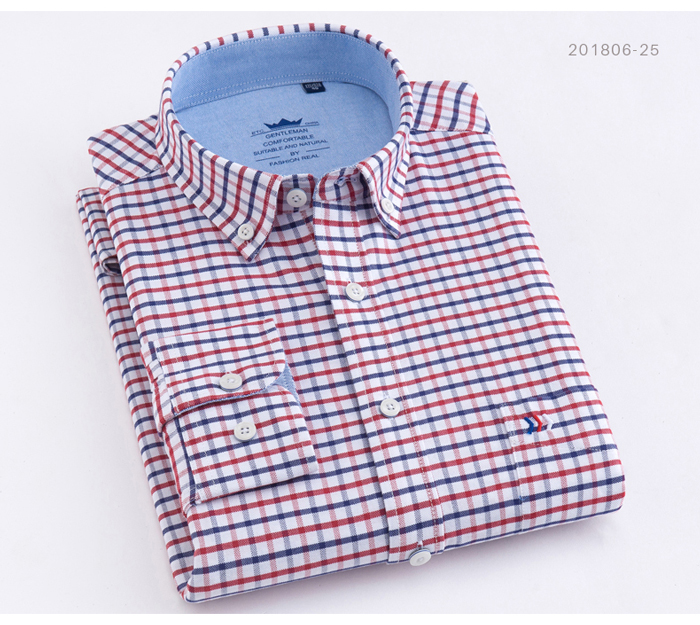He51adcc588124864af6a9df316ccbe03V - Men's Casual 100% Cotton Oxford Striped Shirt Single Patch Pocket Long Sleeve Standard-fit Comfortable Thick Button-down Shirts