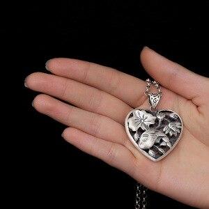 Image 2 - Sterling Silber 990 Anhänger Herz Geformt Fisch Und Lotus Carving Personalisierte Halsketten & Anhänger Geschenke Für Frauen Edlen Schmuck
