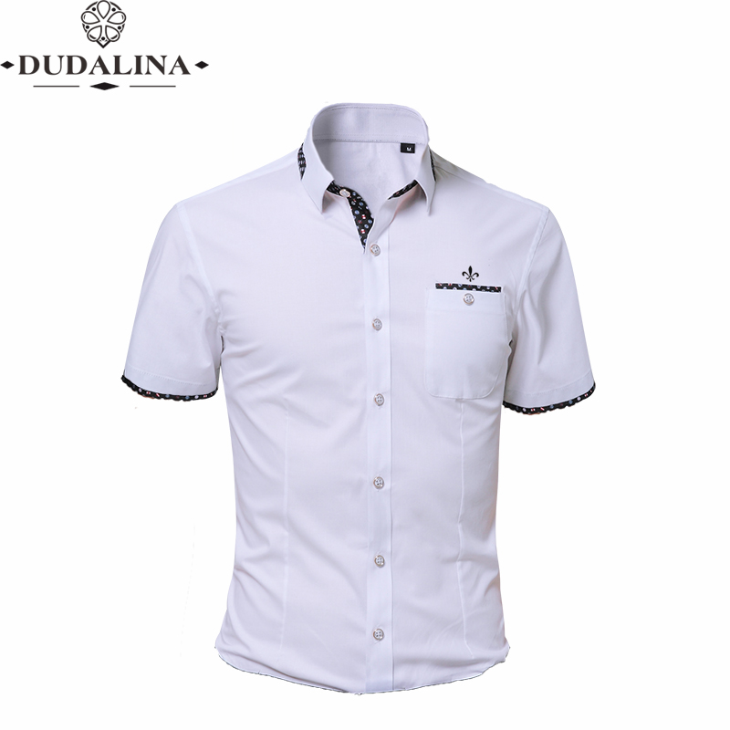 Fashion Print Blouse Camisa Social Masculina Dudalina Short Sleeve Slim Fit Shirt Men Clothing Embroidery White Male Cold
