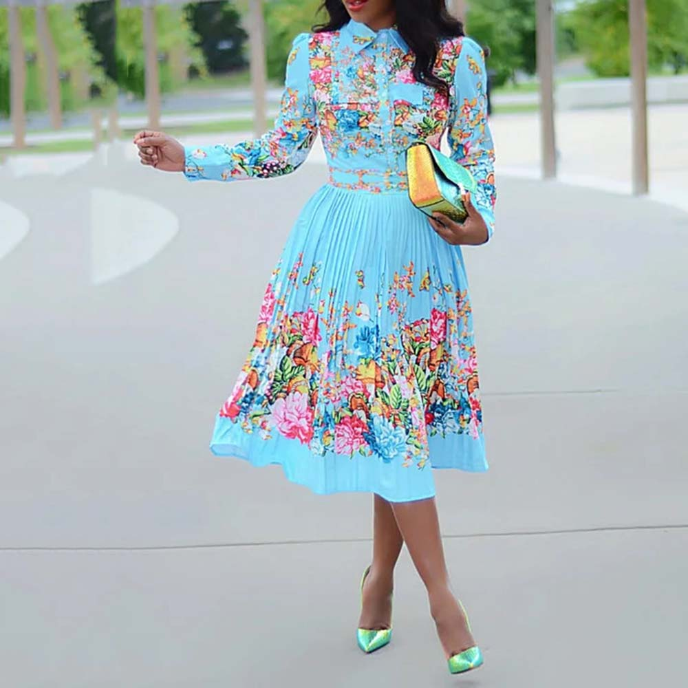 US $14.14 14% OFF14 Spring Women Pleated Dress Elegant Fashion Floral  Print Dresses Female Lades Plus Size African Dinner Robe Blue