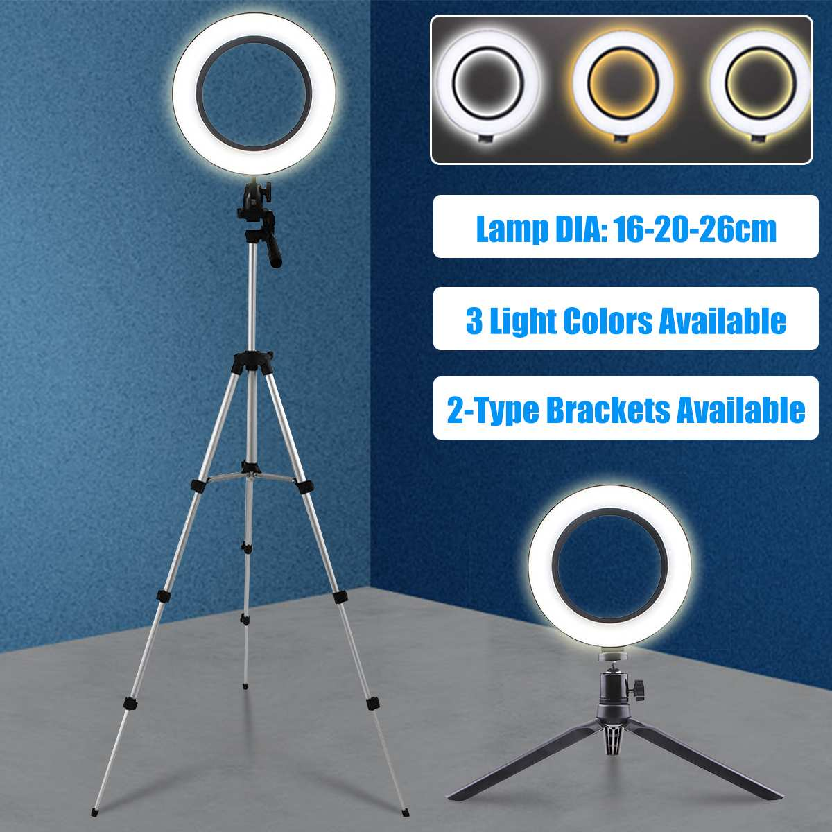 LED Studio Camera Selfie Ring Light Youtube Video Live Beauty Fill Lamp Photography Lighting Set With Tripod Bracket for Phone image