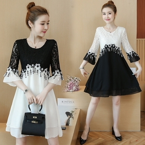 Image 3 - 55 100kg Can Wear Plus Size New Arrival Above Knee Mini A line Chiffon Women Contrast Color White Black Lace Cocktail Dresses