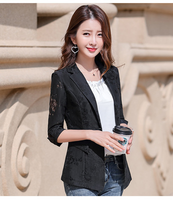 2021 Women Blazer Lace Printed Temperament Slim Suit One Button Notched Office Lady Black White Pink Blue Blazers Plus Size 3xl 6