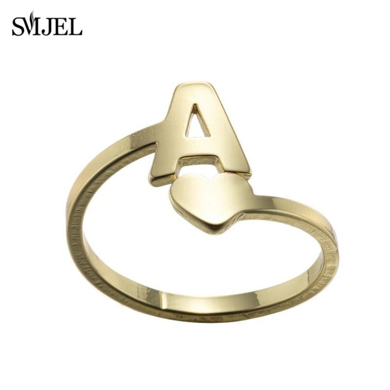 Smjel minúsculo coração A-Z carta anéis de aço inoxidável ajustável abertura anel iniciais nome alfabeto festa feminina na moda jóias