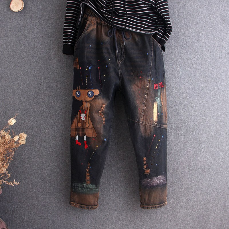 New Spring Patch Cartoon Embroidery Holes Women Jeans Denim Pants Jogger Retro Fashion Casual Long Loose Oversize  Cotton
