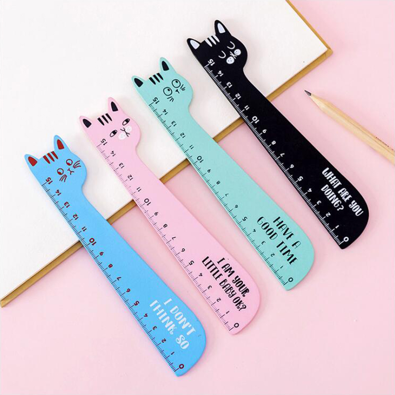 Small Fresh Color Wooden Material Ruler Office Stationery Cartoon Cat School Supplies 15cm Length 1PCS